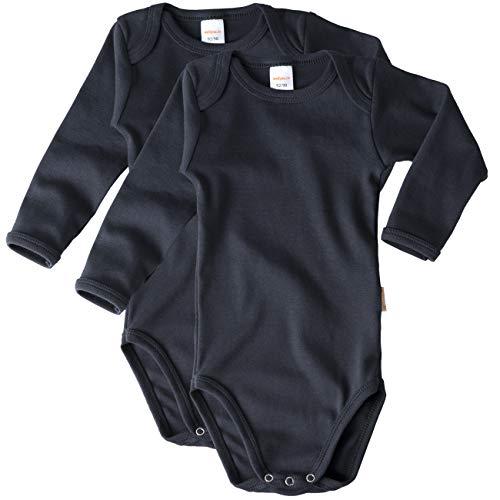 wellyou Body de manga larga para bebé y niño, 100 % algodón, manga larga, juego de 2 tallas 92-134 Azul marino. 92/98 cm