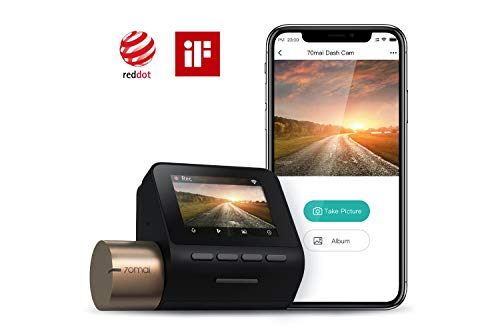 "70mai Dash Cam Lite, Dash Cam Recorder Camcorder, High Resolution 1080p, Parking Monitor, 2"" LCD Screen, WDR, Night Vision, G-Sensor, Loop Recording, Motion Detection, App WiFi (2020)"