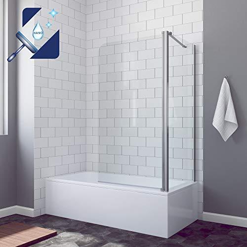 AQUABATOS® 80 x 70 x 140 cm Eck Duschtrennwand Duschwand Glas für Badewanne Duschabtrennung Badewannenaufsatz mit Seitenwand, aus 5mm Sicherheitsglas ESG Nano Beschichtung