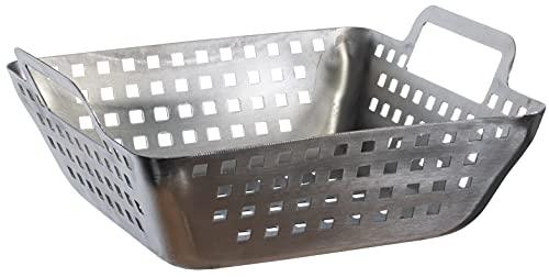Brandsseller Grillkorb ca.21 x 21 x 6 cm Langlebiger 100% hitzebeständiger Edelstahl Grillschale Barbecue für Grillgemüse