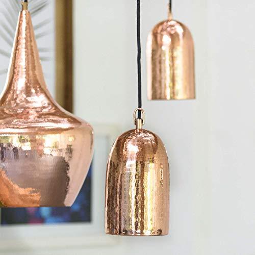 wohnfreuden Kupfer-Lampe aus Metall ✓ Hängelampe Pendelleuchte Hängeleuchte ✓ echte Handarbeit ✓ Kupferleuchten für Wohnzimmer Esszimmer Restaurant Küche ✓ 12x12x24 cm