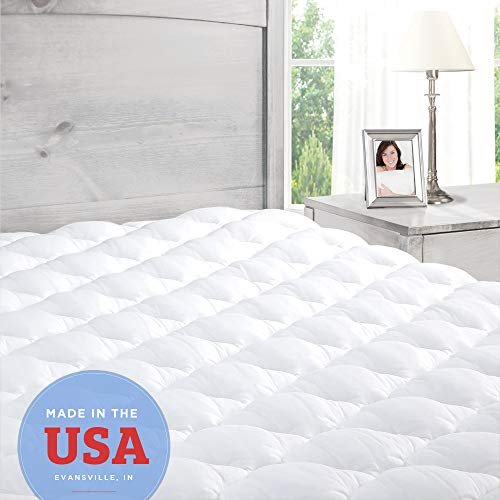 ExceptionalSheets Pillowtop Mattress Topper with Fitted Skirt - Extra Plush Pad Found in Marriott Hotels - Made in The USA, Queen Size