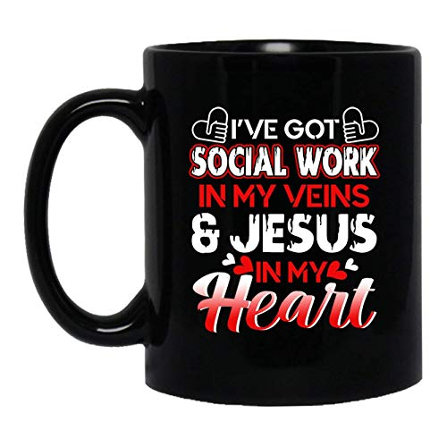 N\A Tengo Trabajo Social en mis Venas Taza de café Taza Negra Taza de té 11 oz