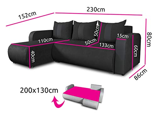 Ecksofa Couch –  günstig  Rino  Schlaffunktion Bild 6*