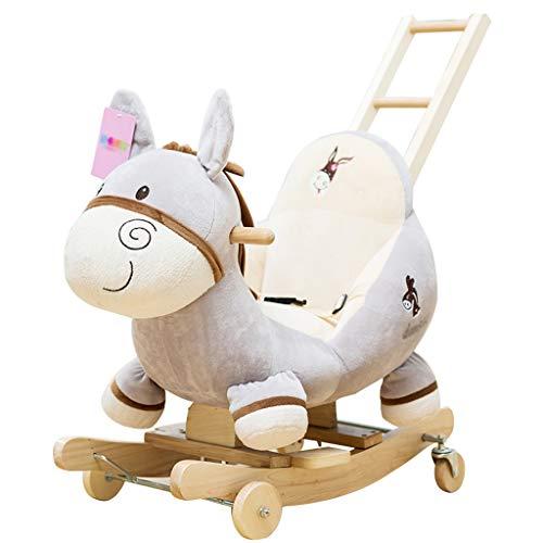 Cheval à bascule en bois Chaise berçante en bois Jouet Petit cheval en bois Berceaux à double usage pour enfants Levez le dos du visage lumineux