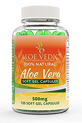 Aloevedic 100% Natural Aloe Vera Soft Gel Capsules - 500mg Supplements for Detox Colon Cleanse Weight Loss Diet Metabolism Stomach Digestion and Tablets for Hair and Face Skin Care - 120 Pure Pills by ALOE VEDIC BEAUTY, HEALTH AND WELLNESS