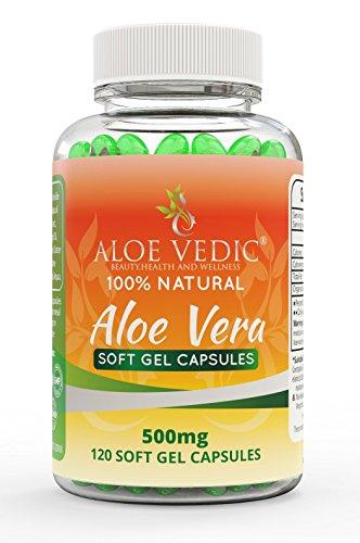100% natürliche Aloe Vera Kapseln 500mg Supplement für Colon Cleanse Magenhaar und Verdauungsprobleme Tabletten für Detox Gewichtsverlust Stoffwechsel und Gesichtspflege 120 weiche Gel-Pillen
