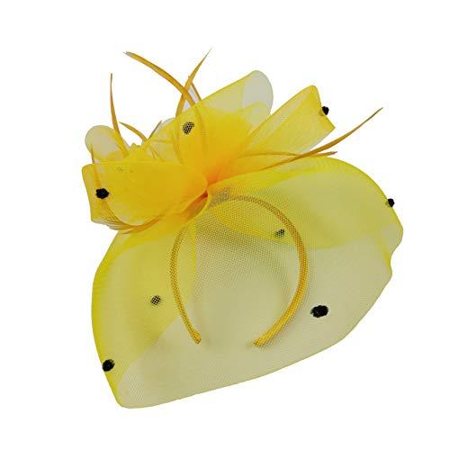 High-Fashion Elegent Women Sinamay Feather Net Fascinator Headband Clip Head Piece for Tea Party Racing Debery Church Wedding Special Occasions (Lemon Green)