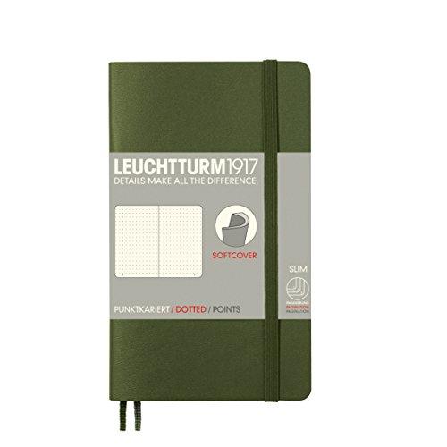 LEUCHTTURM1917 349288 Notizbuch Pocket (A6), Softcover, 123 nummerierte Seiten, dotted, Army