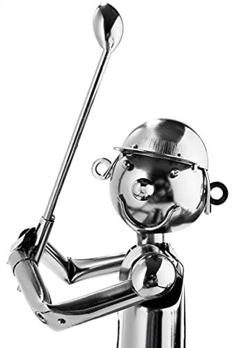Brubaker Flaschenhalter Golfspieler beim Abschlag Metall Skulptur Geschenk mit Geschenkkarte - 7