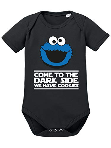 clothinx Come to The Dark Side - We Have Cookies - Lustiges Keks-Monster Motiv Baby-Body Bio Schwarz Gr. 50-56