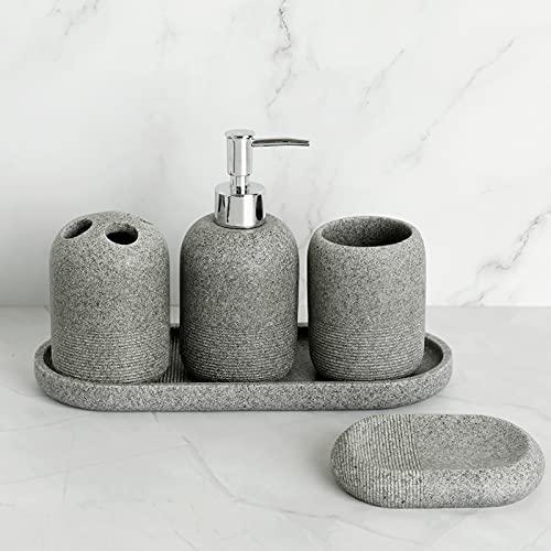 FYLYHWY Accesorios De Baño Conjunto De Resina Soap Dispensador Roca Roca Cuarto...