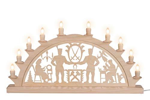 Nestler-Seiffen LED Schwibbogen Schwarzenberger Erzgebirge mit 10 Kerzen, 60 cm, Original Seiffen Lichterbogen
