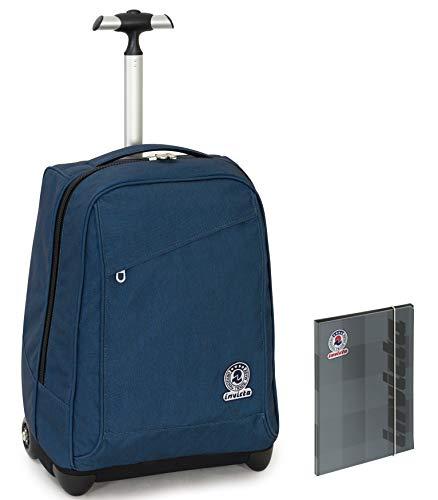 Trolley Invicta + Cartellina - Blu - 35 LT Scuola e viaggio - Eco Material