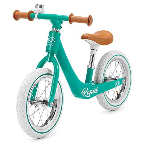 Kinderkraft Laufrad RAPID, Lernlaufrad, Kinderlaufrad, Lauflernrad für Kinder, Kinderrad, Fahrrad mit Zubehör, Klingel,12 Zoll Räder, Magnesiumrahme, ab 3 Jahre, Retro Design, Grün