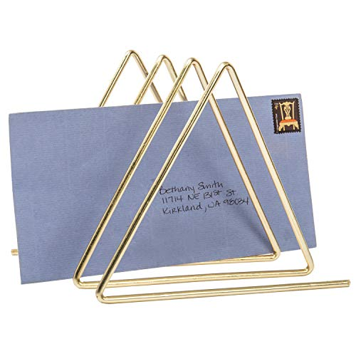 MyGift 3-Slot Desktop Triangular Brass Tone Wire Metal Magazine/File Sorter