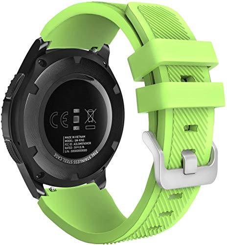 Classicase Correa de Reloj Recambios Correa Relojes Caucho Compatible con TicWatch Pro/Pro 4G LTE / S2 / E2 - Silicona Correa Reloj con Hebilla (22mm, Verde)