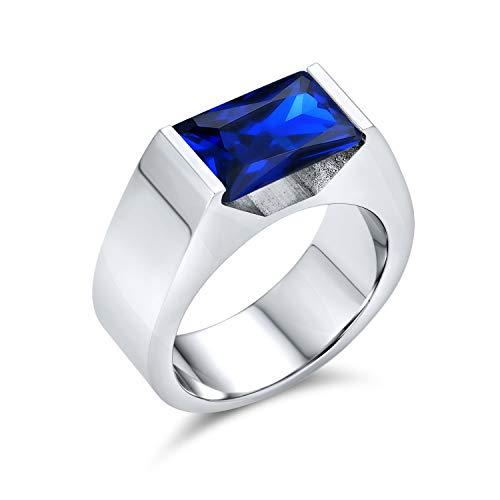 Bling Jewelry Geométrico 4CT rectángulo simulado Zafiro cúbico Zirconia Corte Esmeralda AAA CZ Anillo de Compromiso para Hombres Acero Inoxidable Tono Plata