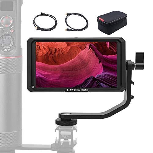 FeelWorld Master MA5 Kamera Monitor 5 Zoll DSLR Field Monitor 4K Externer Feldmonitor Video 1920x1080 IPS Full HD DC-Ausgangsleistung mit Kipparm HDMI Kabel für Canon Nikon Panasonic Sony DSLR
