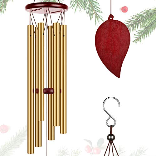 """Kissbaby Wind Chimes for Outdoor Clearance 31"""" Windchimes Large Deep Tone Memorial Outside Wind Chime Sympathy Gifts for Loss of Loved One Wind Bell Yard Patio Decor (Golden Wind Chime)"""