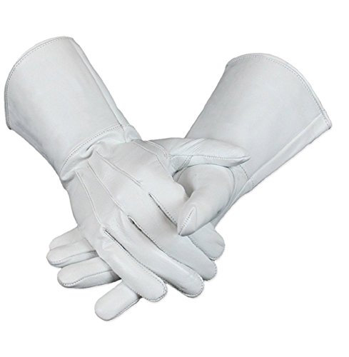 Leather Gauntlet Gloves Long Arm Cuff (XL, White)
