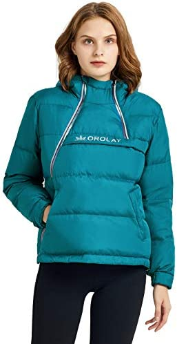 Orolay Women s Short Thermal Hoodie Down Jacket Puffer Coat Run Jacket with Gloves Blue XL product image