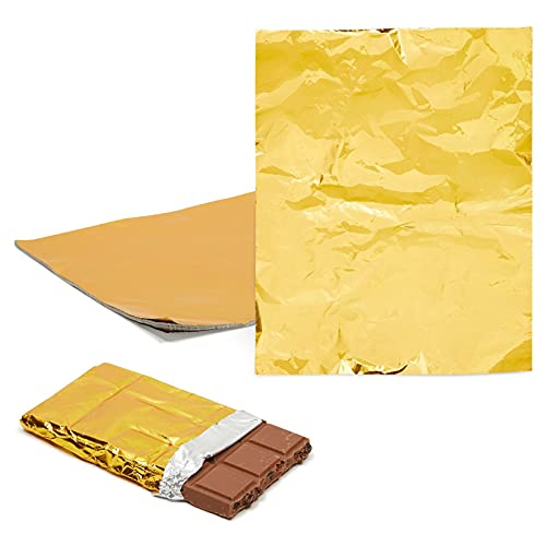 Juvale 100 Sheets Gold Foil Candy Wrappers for Treats, Wrapping Chocolate Bars (6 x 7.5 in)
