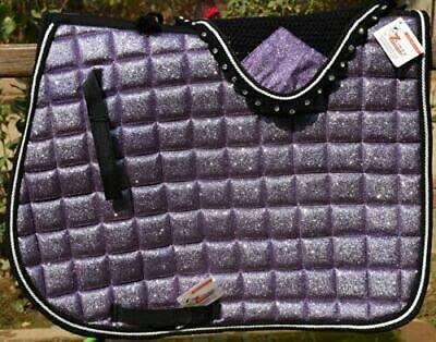 Ensemble de tapis de selle à paillettes violettes pour cheval, oreilles, bonnet, punaise, sport