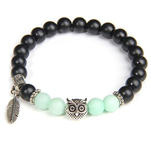 Beaded Bracelet,Natural,Handmade Blue Amazonite Stone Beads Bracelet Fashion Black Agate Beaded Owl Pendant Lucky Fashion Stretch Wrist Bangle Bracelet Women Men Couple Friend Gift(Light Green)