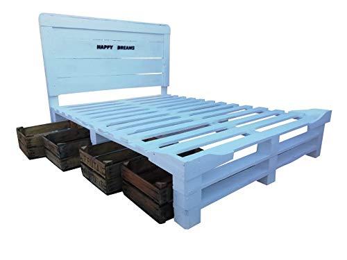 Cama de Palets con Cabecero y cajas de almacenamiento para colchon de 90,105, 120, 135 por 180 x 190 x 200 cm Somier con Cabezal Respaldo de camas Cabezale Cabeceros