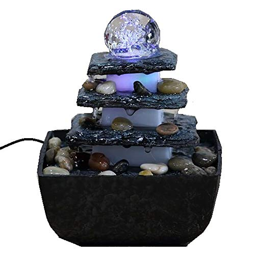 Dapo LED-Zimmerbrunnen TERRASSE, eckig, Tisch-Boden-Brunnen, LED farbwechselnd für eine gemütliche, entspannte Atmosphäre, Raumbefeuchter, Brunnen
