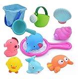 お風呂おもちゃ WELCOOL シャワー プールトイ 水遊びおもちゃ 11点セット 噴水 音だす 漁網 柔らかい おふろおもちゃ 子供玩具