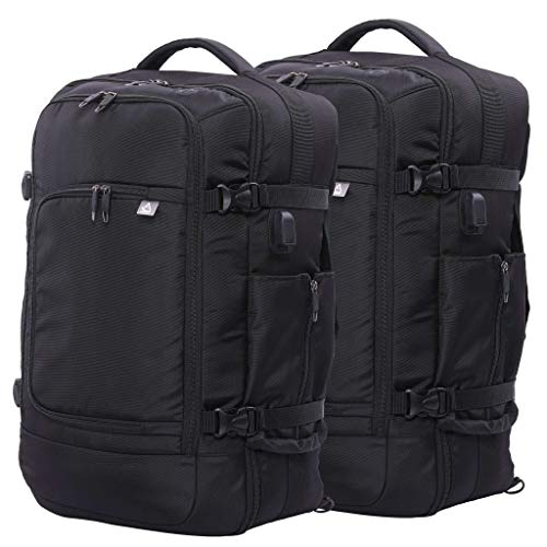 "Aerolite 55x35x20cm 39L Hand Cabin Luggage Backpack with YKK Zippers, Fits 15"" Laptop, Carry On Rucksack Satchel Holdall Travel Daypack Flight Bag, 55x35x20, Black Set of 2"