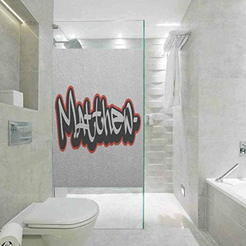 Película de cristal para ventana estática 3D, diseño de fuente Matthew inspirado en Hip-hop Culture and Str, decoración de baño para el hogar y baño, 23.6 x 78.7 pulgadas