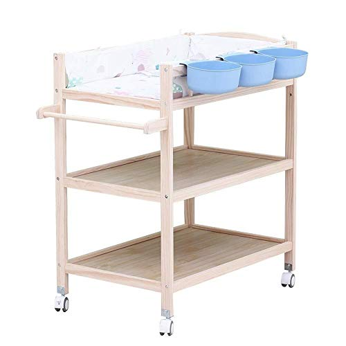 Commode Portable babyluiers te wisselen Diaper Station Houten - Infant/Pasgeboren Changer Tafel met Storage Box & Mat Baby wieg (Color : Blue)
