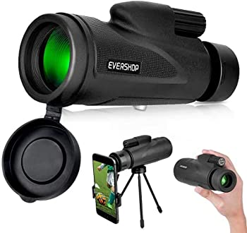 12x50 Monocular Telescope Evershop High Power Prism Handheld Telescope Outdoorsman Gifts with Smartphone Holder for Bird Watching Hunting Camping Travelling Wildlife Scenery