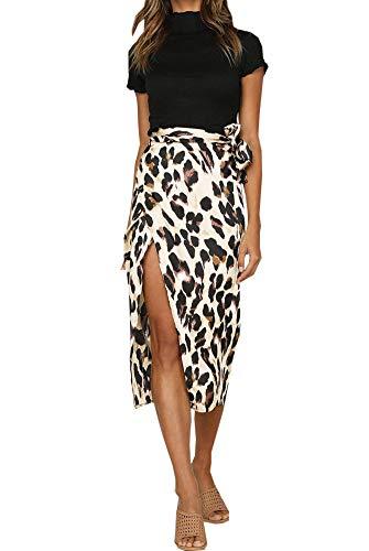 Falda Mujer Falda Larga Alta Cintura con Aberturas para Mujer Vestido Sexy con Estampado de Leopardo