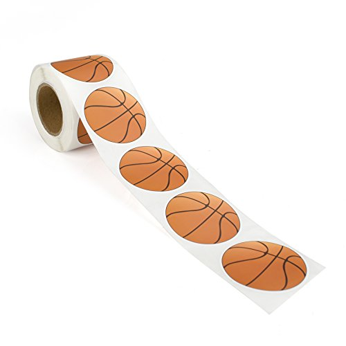 "Officeship 2""Dia Basketball Sticker, Tennis Sticker, Football Sticker, Sports Ball Stickers, 250 PCS/Roll-Basketball-1ROLL"
