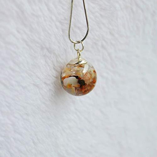 Muschel Natürliche Meer Sand Strand Im Dunkeln Leuchten Glas Kugel 925 Sterling Silber Schlange Ketten Halsketten mit Anhänger
