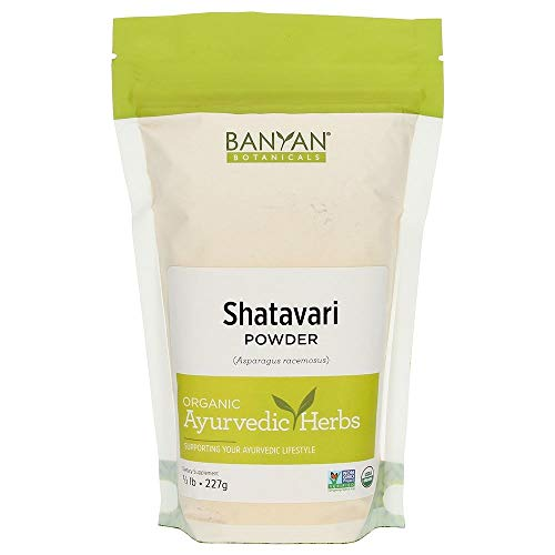 Banyan Botanicals Organic Shatavari Powder – Asparagus racemosus – Ayurvedic Herb for Vata & Pitta, Balanced Female Hormones, Energy, Vitality & More* – 1/2lb. ­– Non-GMO Sustainably Sourced Vegan