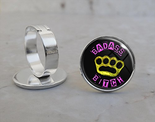 Badass Bad Ass Bitch Girl Power Adjustable Ring