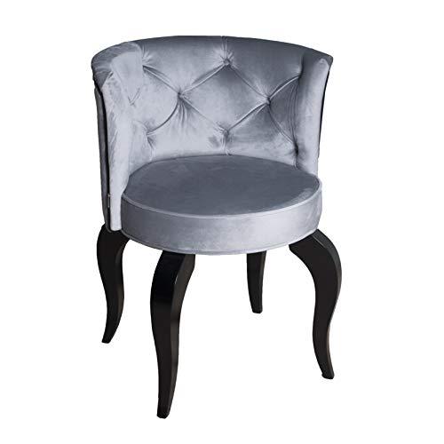 Petro Design Stuhl Luna Style Silver Samt Esszimmer Polsterstuhl Barock Schminktisch Schreibtisch Lounge Chesterfield