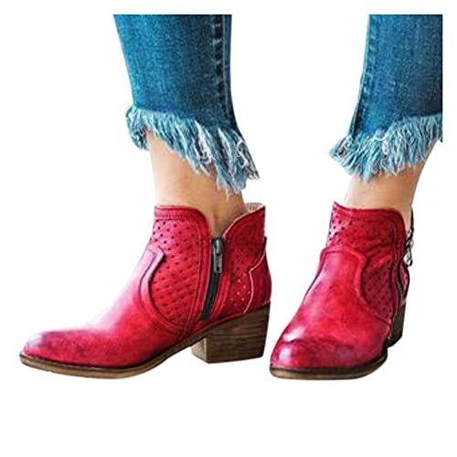 Hbeylia Women's Ankle Booties Vintage Western Cowboy Cowgirls Boots Ethnic Retro Pointed Toe Chunky Wide Block Mid Heels Wide Mid Calf Dress Boots with Zipper Fall Winter Riding Shoes for Women Lady