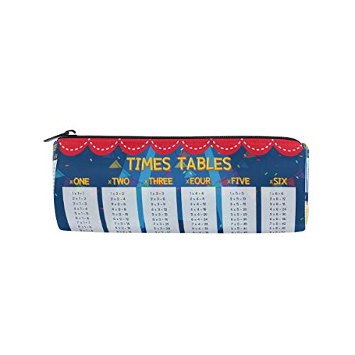 Time Tables Pencil Pen Case Bag Pouch Holder Easy Access for Boys Girls Middle High School Office College Cosmetic Bag Adults