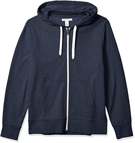 Amazon Essentials Men's Lightweight French Terry Full-Zip Hooded Sweatshirt, Navy, Medium