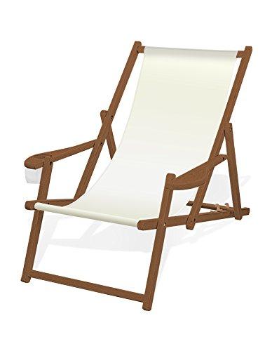 Holz-Liegestuhl mit Armlehne und Getränkehalter, Klappbar, mit dunkelbrauner Lasur, Wechselbezug (Weiß)