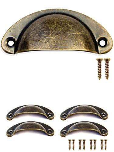 fuxxer - 4 x coquilles de poignée de tiroir en bronze antique design en fer porte coulissante armoire poignée commodes style rétro vintage 80 x 36 mm, lot de 4