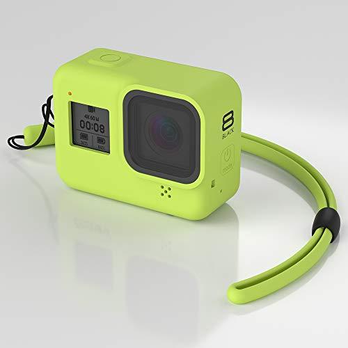 Flycoo2 - Custodia in silicone per GoPro Hero 8, con cinghia anti-urto, anti-graffio, colore: Verde
