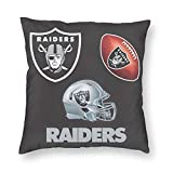 efolki Football Theme Raiders Pillowcase Square Throw Pillow Covers Soft Sofa Cushion Cover Decorative Pillow Cases Without Insert 18x18 in