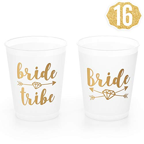 xo, Fetti Bachelorette Party Bride Tribe + Bridal Shower Cups w/ 2Special Bride Cup - 16 Count, 16 Oz. | Engagement Party Decoration and Bride to Be Gift